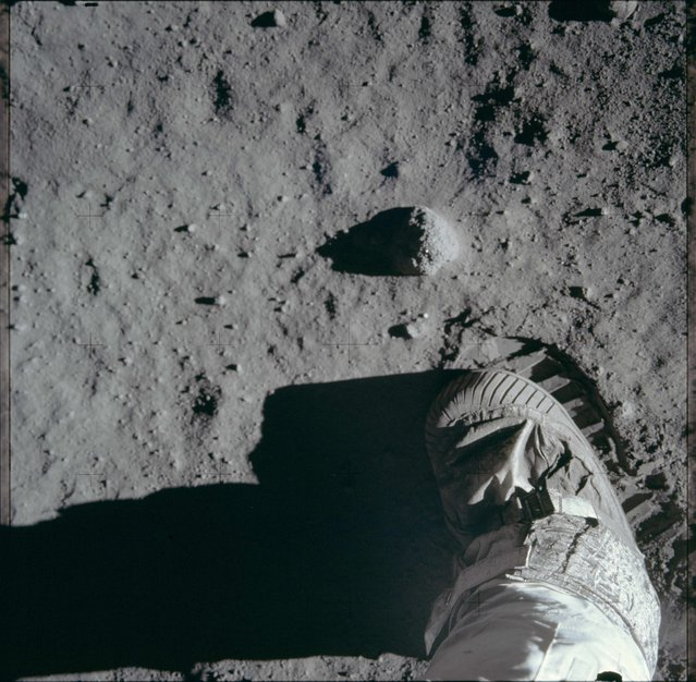 An astronaut's boot and bootprint in the lunar soil is pictured during the Apollo 11 lunar surface extravehicular activity in this July 20, 1969 NASA handout photo. (Photo by Reuters/NASA)