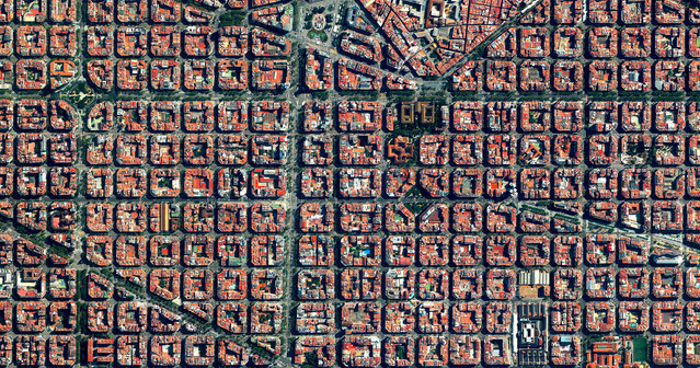 The Eixample District in Barcelona, Spain is characterised by its strict grid pattern and apartments with communal courtyards. This thoughtful and visionary design was the work of Ildefons Cerdà (1815–1876). His plan features broad streets that widen at octagonal intersections to create greater visibility with increased sunlight, better ventilation, and more space for short-term parking. (Photo by Benjamin Grant/Penguin Random House)