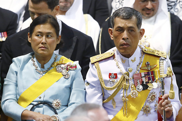 In this April 30, 2013, file photo, Thailand Crown Prince Vajiralongkorn, right, and Princess Sirindhorn attend a church service prior to the inauguration of Dutch King Willem-Alexander in Amsterdam. (Photo by Michel Kooren/Pool Photo via AP Photo)