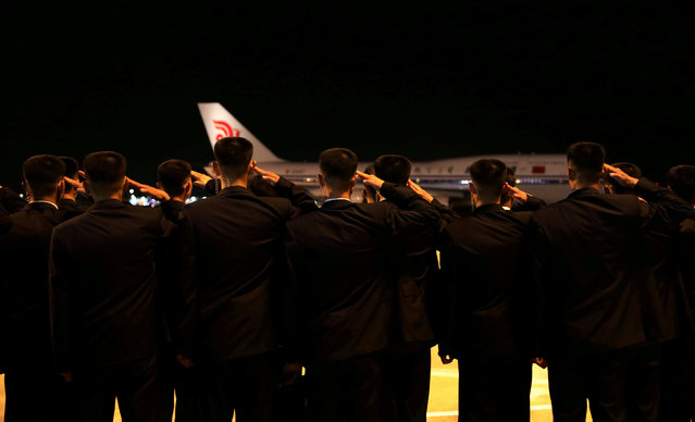 The plane carrying North Korean leader Kim Jong Un departs from Changi Airport, Singapore, June 12, 2018. (Photo by Ministry of Communications and Information, Singapore via Reuters)