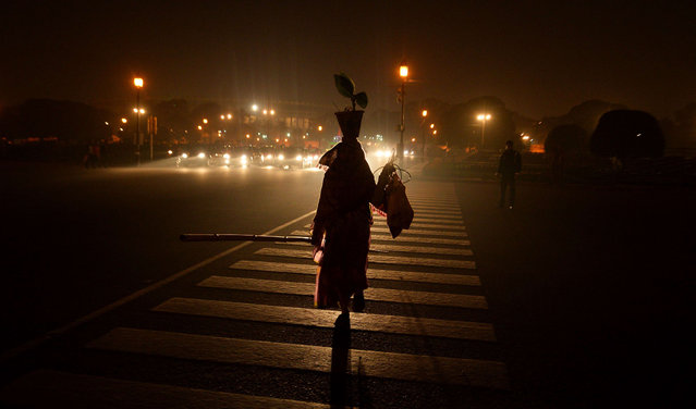 An Indian woman crosses the road in New Delhi on January 20, 2015. India is part of a global trend that is advancing towards an increasing urbanisation, with more than half of the world's population living in towns and cities. (Photo by Chandan Khanna/AFP Photo)