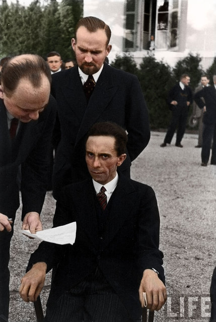Joseph Goebbels scowling at photographer Alfred Eisenstaedt after finding out he's Jewish, 1933. Colorized by zuzahin on Reddit.