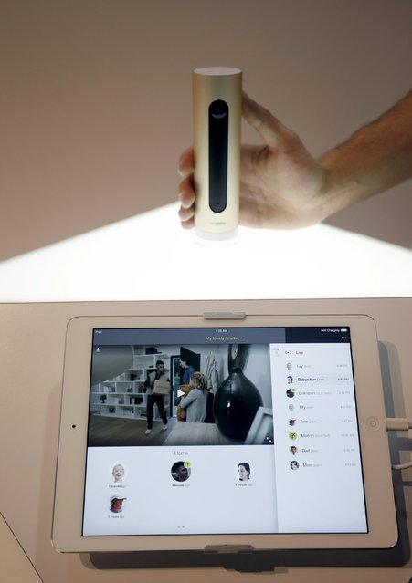 A Netatmo Welcome indoor security web camera is shown during the 2016 CES trade show in Las Vegas, Nevada January 8, 2016. The camera has face recognition and can ignore people that are already programmed into its database - only sending alerts when it senses an unfamiliar face. The camera retails for $199. (Photo by Steve Marcus/Reuters)