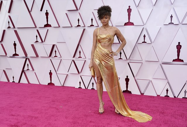 Andra Day arrives at the Oscars on Sunday, April 25, 2021, at Union Station in Los Angeles. (Photo by Chris Pizzello/Pool via AP Photo)