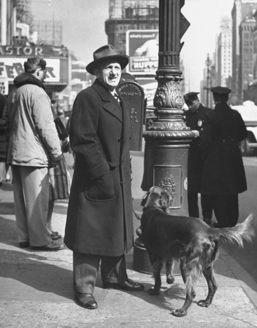 Comedian Jimmy Durante w. his Irish setter, standing on street corner in Tilmes Square. (Photo by Nina Leen/Pix Inc./The LIFE Picture Collection/Getty Images)