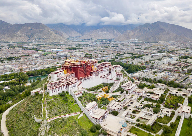 Aerial photo taken on August 10, 2019 shows the Potala Palace in Lhasa, southwest China's Tibet Autonomous Region. (Photo by Chine Nouvelle/SIPA Press/Rex Features/Shutterstock)