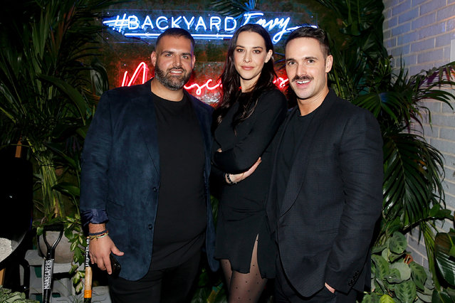 """(L-R) James DeSantis,  Melissa Brasier and Garrett Magee attend the """"Backyard Envy"""" premiere at The Standard Hotel on January 17, 2019 in New York City. (Photo by Dominik Bindl/Getty Images)"""
