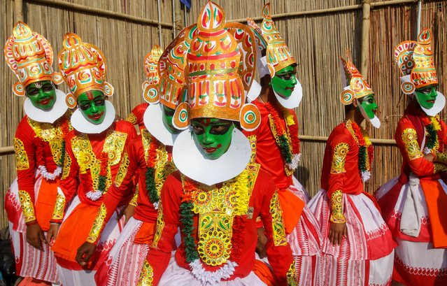 School children dressed as Kathakali dancers wait to perform during Republic Day celebrations in Agartala, January 26, 2019. (Photo by Jayanta Dey/Reuters)