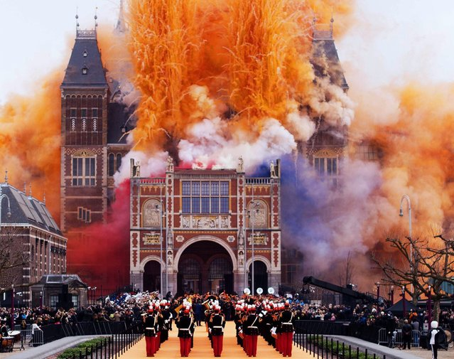 Fireworks announce the official opening of the Rijksmuseum in Amsterdam, The Netherlands, 13 April 2013. (Photo by Robin Utrecht/EPA)