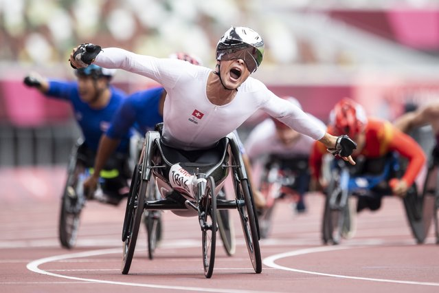 Marcel Hug of Switzerland reacts after winning the Men's 1500m T53/54 competition at the 2020 Tokyo Summer Paralympics Games at the Olympic Stadium in Tokyo, Japan, Tuesday, August 31, 2021. (Photo by Ennio Leanza/Keystone)