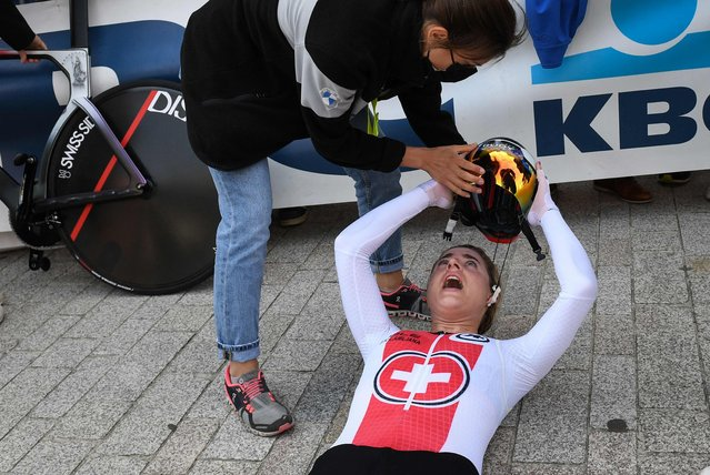 Switzerland's cyclist Marlen Reusser reacts after placing second in the women' elite time trial race of the UCI World Championships Road Cycling Flanders 2021, in Bruges, on September 20, 2021. UCI World Championships Road Cycling Flanders 2021 takes place from September 19 until September 26, 2021, in several cities in the Belgian region of Flanders. (Photo by Simon Wilkinson/BELGA via AFP Photo)