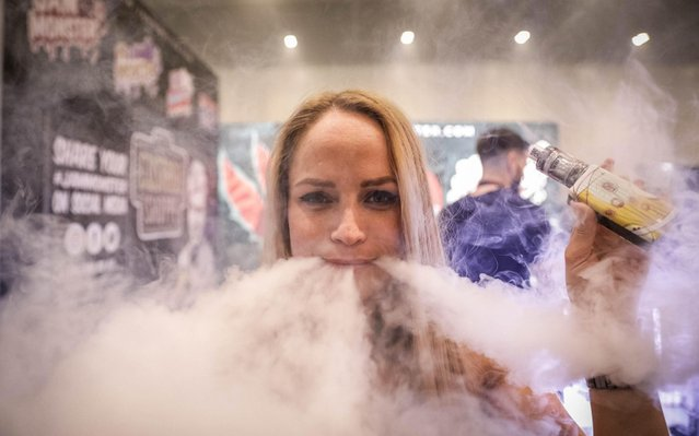 A vape enthusiast vapes during Vape Jam 2019 at ExCel on April 12, 2019 in London, England. Vape Jam UK, the premier Electronic Cigarette and E-Liquid trade show brings key industry players, leading manufacturers, consumers, hobbyists and people looking for an alternative to tobacco. (Photo by Corbishley/Alamy Live News)