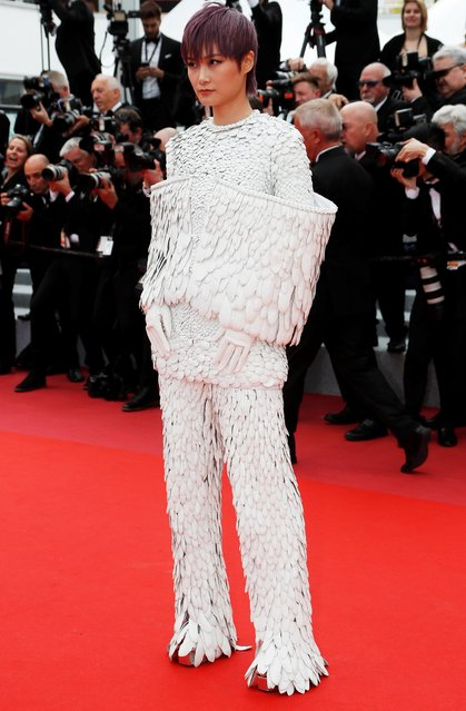 """Chinese actress and singer Li Yuchun, also known as Chris Lee poses as she arrives for the screening of the film """"Les Miserables"""" at the 72nd edition of the Cannes Film Festival in Cannes, southern France, on May 15, 2019. (Photo by Eric Gaillard/Reuters)"""