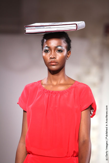 A model on the runway for the Kinder Aggugini show at London Fashion Week Spring/Summer 2012 at the Corinthia Hotel