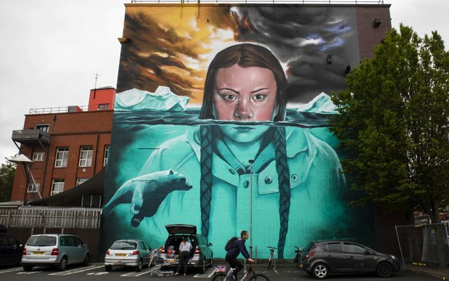 A 15 metre high mural of climate change activist Greta Thunberg created by artist Jody Thomas is seen in BristolEngland on May 31, 2019. Teenage Greta has gained a worldwide following for highlighing the emergency of climate change. (Photo by South West News Service)