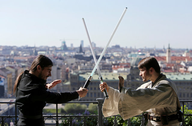 People dressed as characters from Star Wars perform to mark the Star Wars Day in Prague, Czech Republic, May 7, 2016. (Photo by David W. Cerny/Reuters)