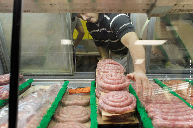 Meat is seen for sale at Laurenzo's Italian Center in North Miami Beach, Florida