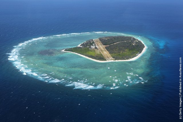An aerial view of the island is seen on January 14, 2012 over Lady Elliot Island, Australia