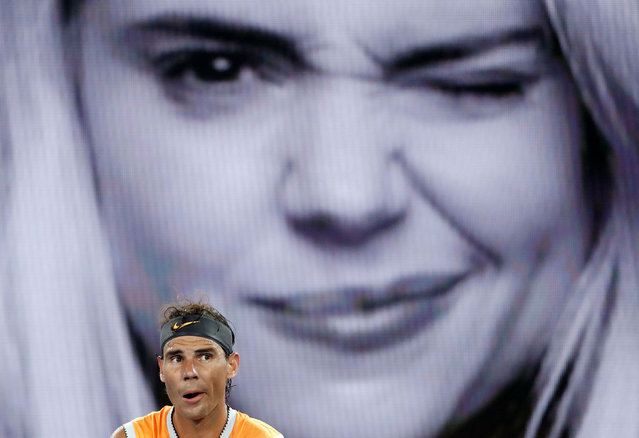 Spain's Rafael Nadal reacts during the match against Frances Tiafoe of the U.S. at the Australian Open tennis championships in Melbourne, Australia, Tuesday, Jan. 22, 2019. (Photo by Aly Song/Reuters)