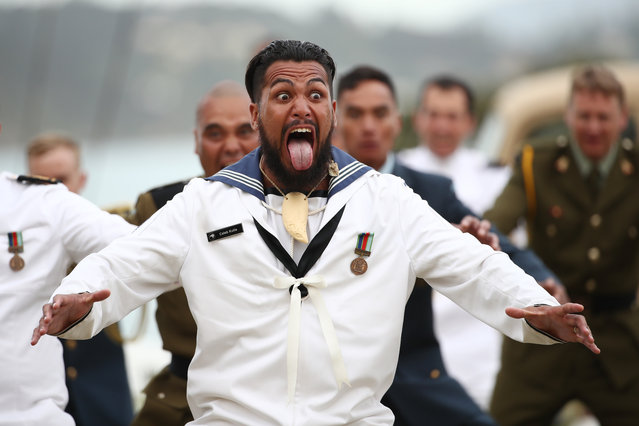 New Zealand Defence Force personal perform a haka during Te Rau Aroha, an evening to commemorate Maori service in the New Zealand Armed Forces on February 05, 2020 in Waitangi, New Zealand. The Waitangi Day national holiday celebrates the signing of the treaty of Waitangi on February 6, 1840 by Maori chiefs and the British Crown, that granted the Maori people the rights of British Citizens and ownership of their lands and other properties. (Photo by Fiona Goodall/Getty Images)