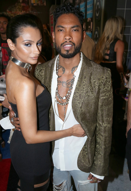 Nazanin Mandi, left, and Miguel arrive at the MTV Video Music Awards at the Microsoft Theater on Sunday, August 30, 2015, in Los Angeles. (Photo by Matt Sayles/Invision/AP Photo)