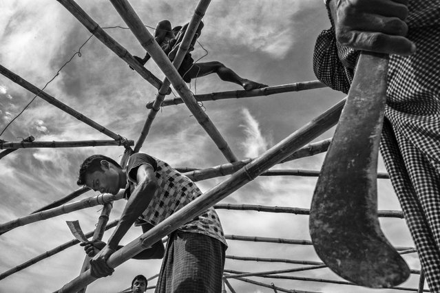 Rohingya refugees build a new mosque at the Balukali Refugee Camp, on October 2, 2017 in Cox's Bazar, Bangladesh. (Photo by Kevin Frayer/Getty Images)