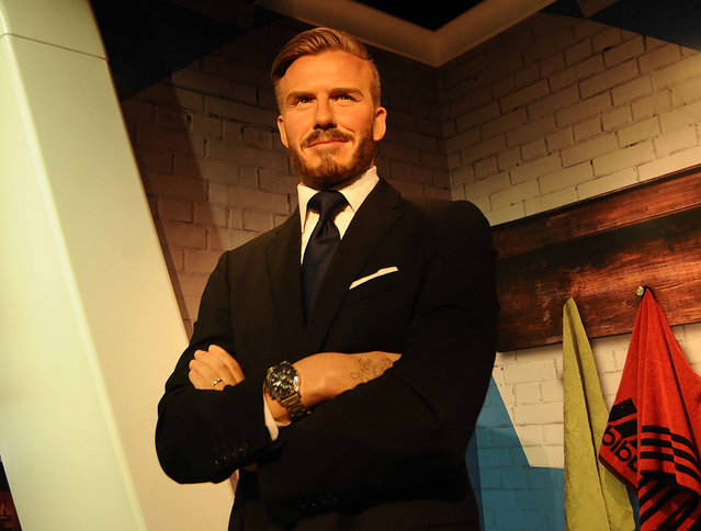 A wax figure former professional footballer David Beckham is seen during the press preview of the Madame Tussauds Wax Museum in New Delhi, India on November 30, 2017. (Photo by Imtiyaz Khan /Anadolu Agency/Getty Images)