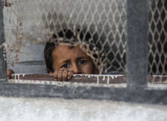 A boy looks out from a window of his home in the border town of Jarablus, August 31, 2016, Syria. Turkish troops and Turkey-backed rebels have been fighting Kurdish-led forces and IS since Turkey's incursion into Syria on Aug. 24. with the swift capture of Jarablus, a town a few km inside Syria that was held by Islamic State. (Photo by Defne Karadeniz/Getty Images)