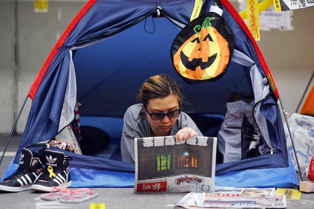 A pro-democracy protester reads newspapers in her tent decorated for Halloween in the part of Hong Kong's financial central district protesters are occupying November 2, 2014. (Photo by Damir Sagolj/Reuters)