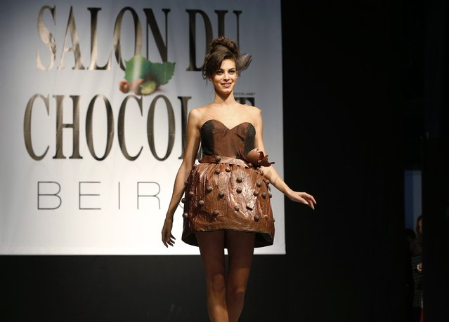 A model presents a creation made with chocolate by professional designers and pastry chefs during the Chocolate Fashion Show at the Salon Du Chocolat in Beirut November 6, 2014. (Photo by Jamal Saidi/Reuters)
