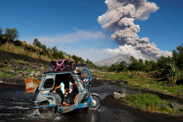 """Filipino villagers escape to a safe area as the Mayon Volcano erupts anew in the town of Daraga, Albay province, Philippines, 23 January 2018. The Philippine Institute of Volcanology and Seismology (PHIVOLCS) agency on 22 January raised the alert level for the Mayon Volcano amid fears of a bigger eruption over the next few hours or days. More than 26,000 people have been evacuated to shelters in the area. """"The Danger Zone is extended to 8 kilometers radius from the summit vent. The public is strongly advised to be vigilant and desist from entering this danger zone"""", PHIVOLCS added. (Photo by Francis R. Malasig/EPA/EFE)"""