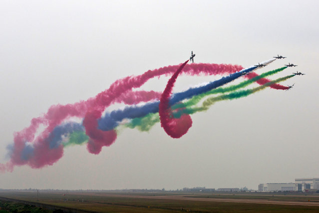 The United Arab Emirates air force performs in Zhuhai, Guangdong province of China, on November 13, 2014. The 10th China International Aviation & Aerospace Exhibition is organized by Zhuhai Airshow Co., Ltd. (Photo by ChinaFotoPress via Getty Images)