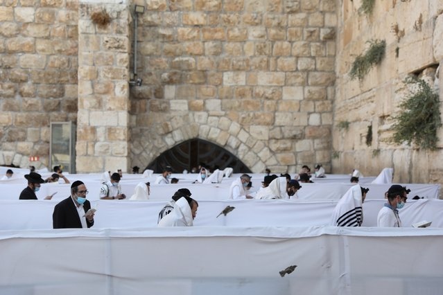 Orthodox Jews wearing masks pray at the separation partitions at the Prayer Plaza of the Western Wall in the Old city of Jerusalem, Israel, 15 September 2020. The Israeli cabinet approved a full three-week lockdown during the Jewish holidays period beginning on 18 September 2020, aimed to prevent the spread of coronavirus. (Photo by Abir Sultan/EPA/EFE)