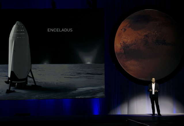 """SpaceX founder Elon Musk speaks during the 67th International Astronautical Congress in Guadalajara, Mexico, Tuesday, September 27, 2016. In a receptive audience full of space buffs, Musk said he envisions 1,000 passenger ships flying en masse to Mars, """"Battlestar Galactica"""" style. He calls it the Mars Colonial fleet, and he says it could become reality within a century. Musk's goal is to establish a full-fledged city on Mars and thereby make humans a multi-planetary species. (Photo by Refugio Ruiz/AP Photo)"""