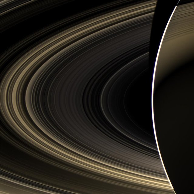 An image from NASA's Cassini orbiter shows Saturn and its rings, with the planet Venus shining as a white speck just above and to the right of the image's center. The picture was captured by Cassini's wide-angle camera on November 10, 2012, and released on March 4. (Photo by NASA/JPL-Caltech/Space Science Institute via AFP Photo)