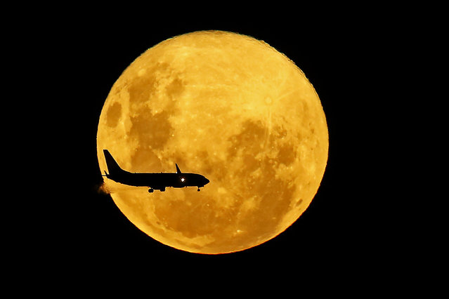 A plane passes in front of the full moon as seen from Curitiba, Brazil on March 9, 2020. The supermoon is visible as the full moon coincides with the satellite in its closest approach to Earth, which makes it appear brighter and larger than other full moons. (Photo by Heuler Andrey/AFP Photo)
