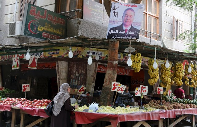 An electoral banner is seen at a market, in Giza governorate, Egypt, October 19, 2015. (Photo by Asmaa Waguih/Reuters)