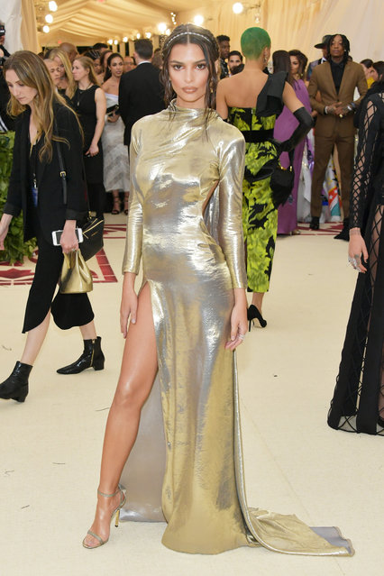 Emily Ratajkowski attends the Heavenly Bodies: Fashion & The Catholic Imagination Costume Institute Gala at The Metropolitan Museum of Art on May 7, 2018 in New York City. (Photo by Neilson Barnard/Getty Images)