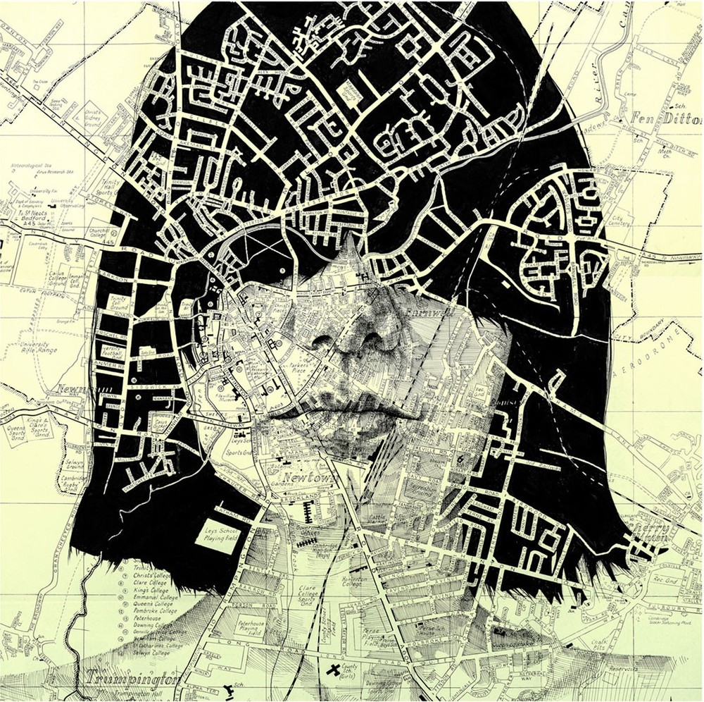 Illustrator Blends Maps and Art in Stunning Face Portraits