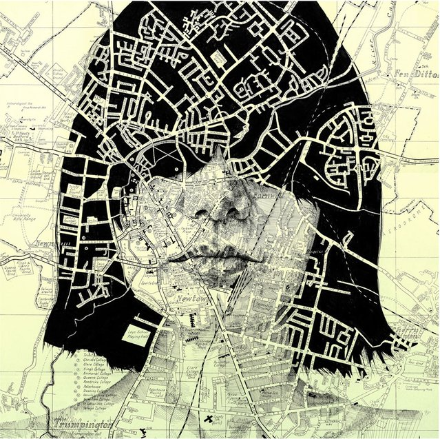 An ink drawing on a vintage street map of Cambridge. (Photo by Ed Fairburn/Rex Features)
