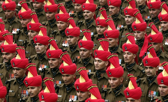 Indian soldiers march during a full dress rehearsal for the Republic Day parade in New Delhi January 23, 2015. (Photo by Adnan Abidi/Reuters)