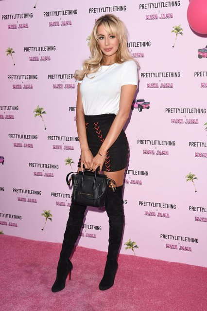 "UK ""Love Island"" star Olivia Attwood attends the PrettyLittleThing x Maya Jama Launch Party at MNKY HSE on June 25, 2018 in London, England. (Photo by Ash Knotek/Rex Features/Shutterstock)"