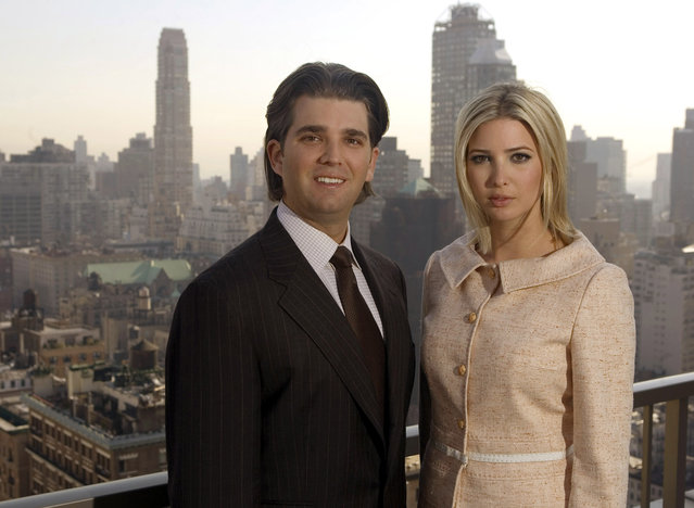 Donald Trump Jr. and his sister Ivanka Trump pose for a photo on the penthouse terrace of the Trump Park Avenue building in New York, Tuesday April 11, 2006. The children, and employees, of real estate tycoon Donald Trump have not taken the most direct route to their positions in the Trump Organization. (Photo by Richard Drew/AP Photo)