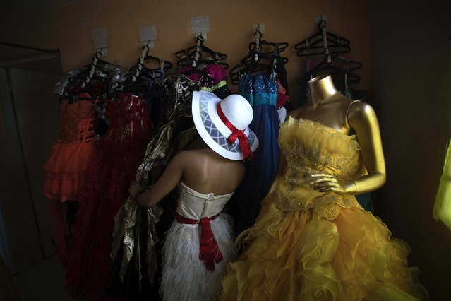 In this December 18, 2015 photo, Daniela Santos Torres, 14, chooses a dress for her quinceanera party at Estudio Mayer, the company her family hired to take her portraits and organize her birthday party in Havana, Cuba. (Photo by Ramon Espinosa/AP Photo)