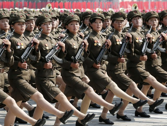 North Korea's Worker-Peasant Red Guard members attend a parade marking the 1948 establishment of North Korea, in Pyongyang in this photo taken by Kyodo September 9, 2013. (Photo by Reuters/Kyodo)