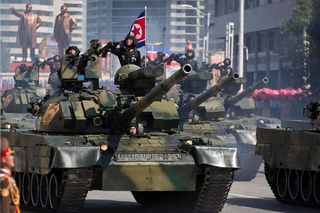 Tanks roll past during a parade for the 70th anniversary of North Korea's founding day in Pyongyang, North Korea, Sunday, September 9, 2018. (Photo by Ng Han Guan/AP Photo)