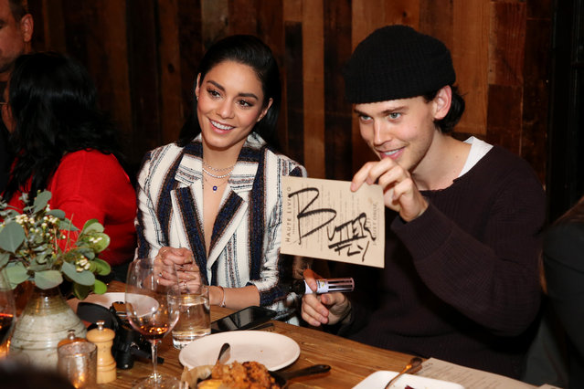 Vanessa Hudgens and Austin Butler attend the Haute Living and Jaquet Droz Honoring of Vanessa Hudgens at A.O.C. on January 17, 2019 in Los Angeles, California. (Photo by Phillip Faraone/Getty Images for Haute Living)