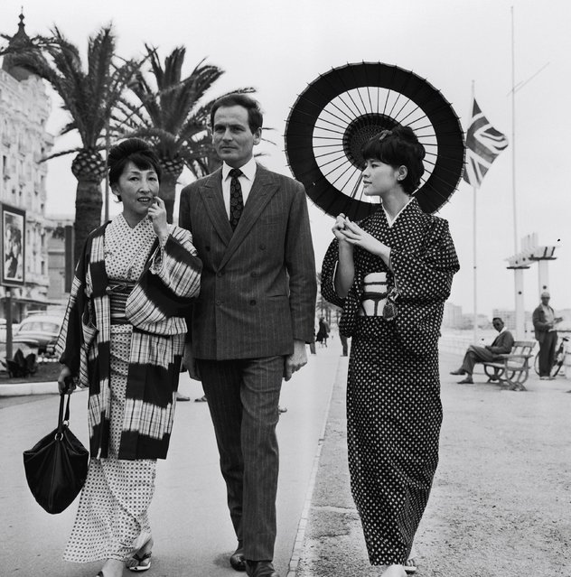 Pierre Cardin at Cannes Film Festival in 1961. (Photo by Gilbert Tourte/Gamma-Rapho via Getty Images)
