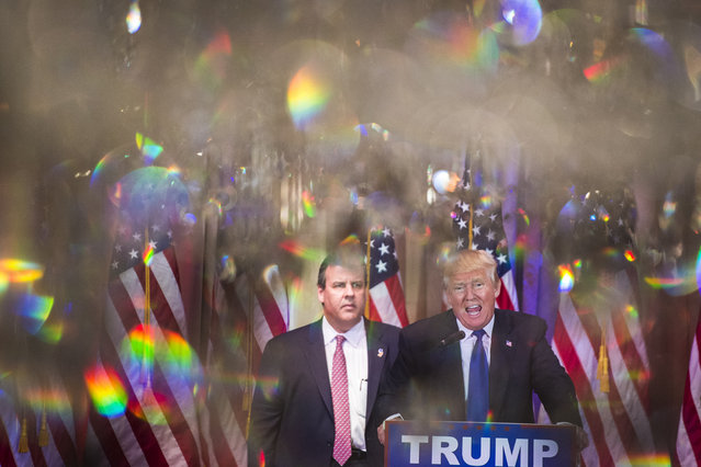 Republican presidential candidate Donald Trump speaks alongside New Jersey Gov. Chris Christie during a campaign press event at the Mar-A-Lago Club in Palm Beach, FL on Tuesday March 01, 2016. (Photo by Jabin Botsford/The Washington Post)