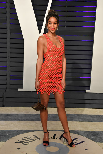 Laura Harrier attends the 2019 Vanity Fair Oscar Party hosted by Radhika Jones at Wallis Annenberg Center for the Performing Arts on February 24, 2019 in Beverly Hills, California. (Photo by George Pimentel/Getty Images)